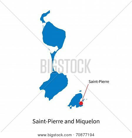 Detailed vector map of Saint-Pierre and Miquelon and capital city Saint-Pierre