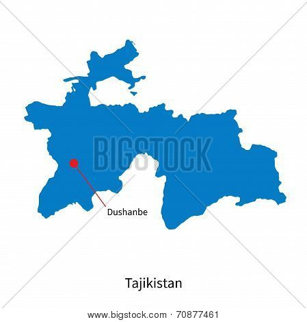 Detailed vector map of Tajikistan and capital city Dushanbe
