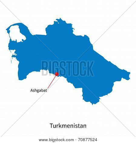 Detailed vector map of Turkmenistan and capital city Ashgabat