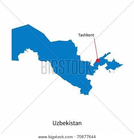 Detailed vector map of Uzbekistan and capital city Tashkent