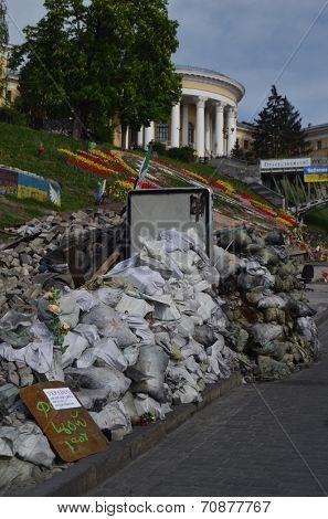 KIEV, UKRAINE - APR 28, 2014: Downtown, vandalized during Revolution of Dignity in Kiev. April 28, 2014 Kiev, Ukraine