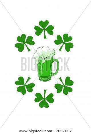 Green beer with shamrocks