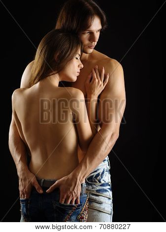 Young Topless Couple In Love