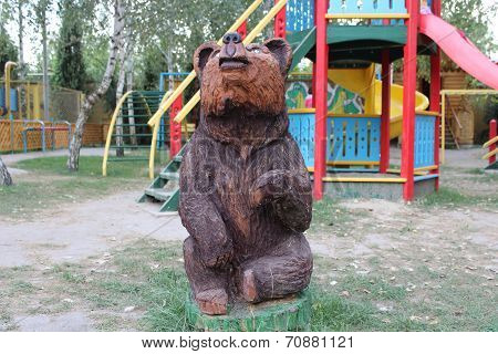 wooden bear on the playground