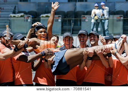 Serena Williams Celebrates Victory During The Mutua Madrid Open 2013
