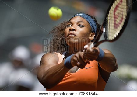 Serena Williams In Action During The Mutua Madrid Open 2013 World Tour Masters 1000
