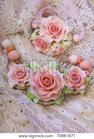 Fashion Studio Shot Of A Floral Rose Necklace (jewelery Made Of Polymer Clay)