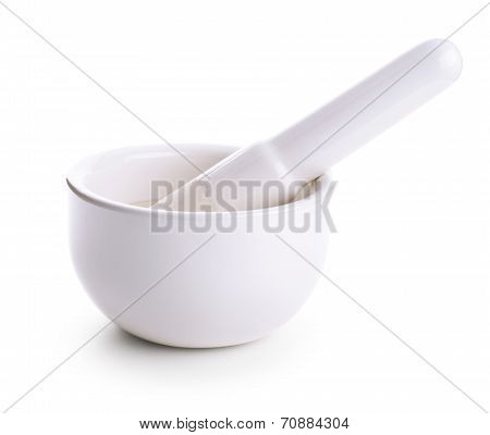 Porcelain Mortar And Pestle Isolated On White