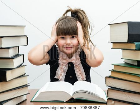 charming little girl with books