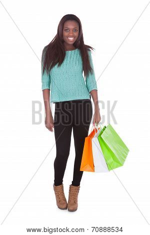 African American Woman Carrying Shopping Bags