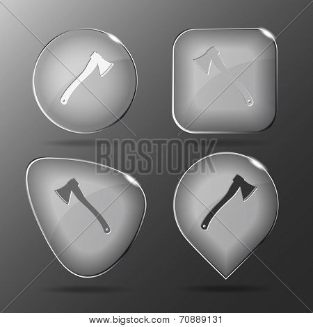 Axe. Glass buttons. Raster illustration.