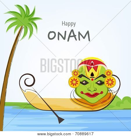South Indian festival Happy Onam festival celebrations with cultural Kathakali dancer face, wooden snake boat, coconut tree and river.