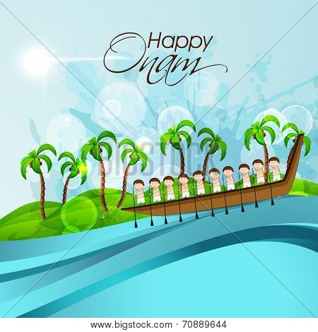 South Indian people participating in Snake Boat Racing in river with coconut trees and stylish text on nature background.