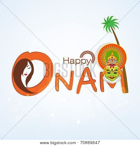 Happy Onam celebration concept with beautiful lady and Indian traditional Kathakali dancer face and coconut tree on sky blue background.
