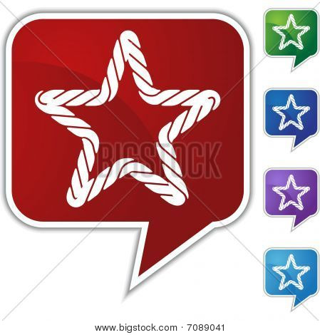 Rope Speech Balloon Icon Set