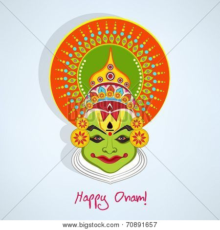 Illustration of kathakali face with heavy makeup and many colours decorated crown with reflection on light blue background.