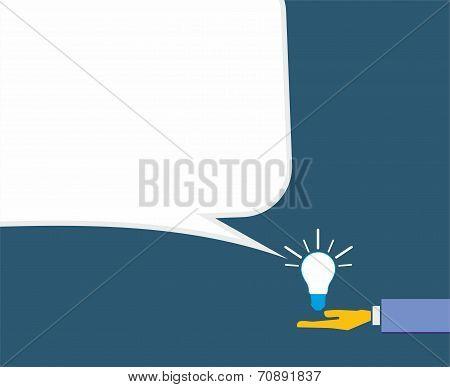 Idea with human hand