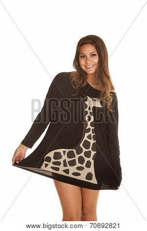 Woman Black Shirt Giraffe