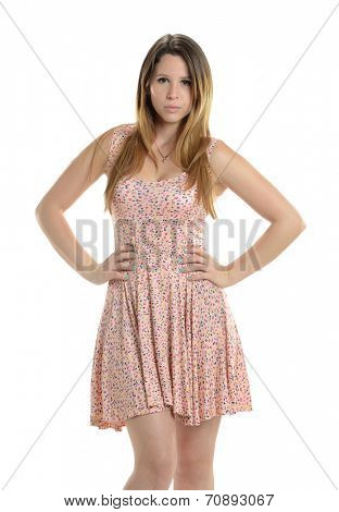 Young Hispanic Woman wearing a summer dress isolated on a white background