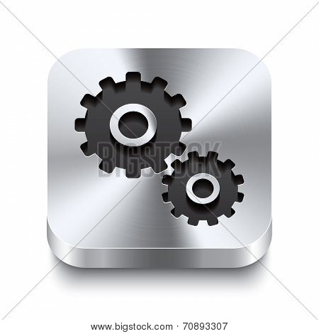 Square Metal Button Perspektive - Gear Icon