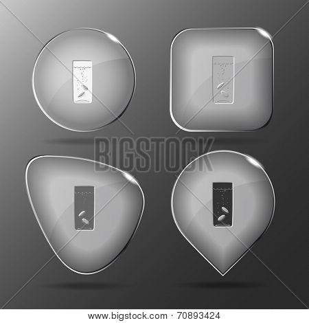 Glass with tablets. Glass buttons. Vector illustration.