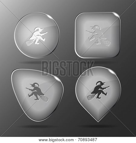 Witch. Glass buttons. Vector illustration.