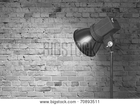 spot light on brick wall