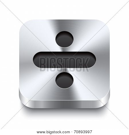 Square Metal Button Perspektive - Minus Icon