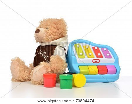 Child Baby Toys Collage With Colorfull Paints, Teddy Bear Xylophone Toy