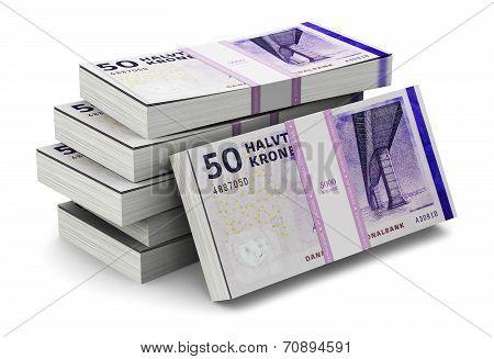 Stacks of 50 Danish krones