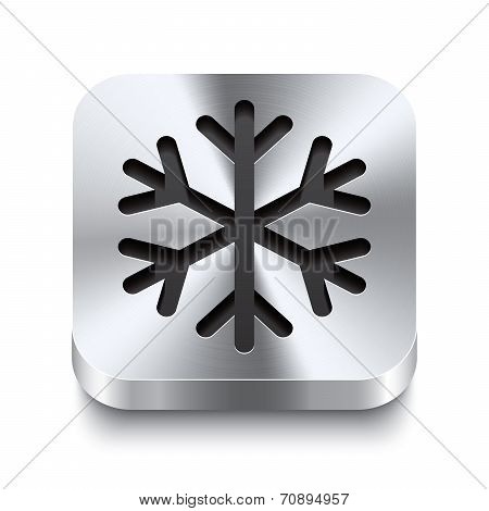 Square Metal Button Perspektive - Snowflake Icon