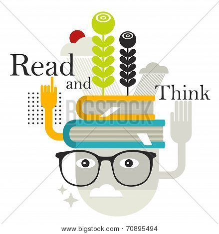 Old man with abstract books on his head.