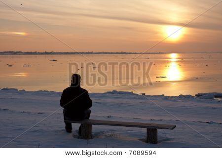 Man Enjoying Winter Sunset