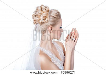 Beautiful Bride Is Standing Sideways.