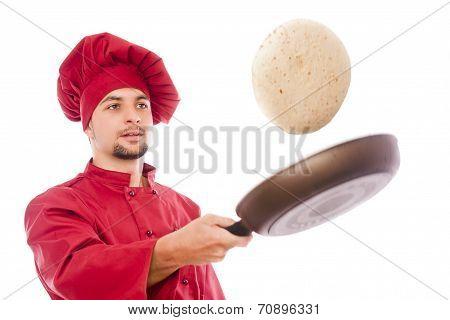 Isolated Chef Preparing Corn Pancake