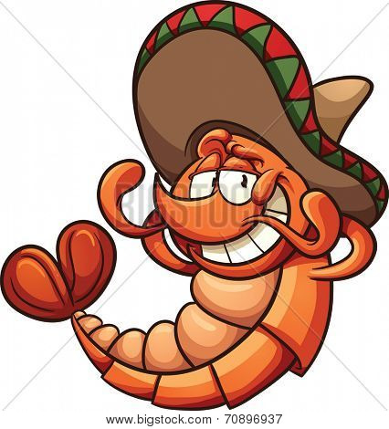 Cartoon Mexican shrimp relaxing. Vector clip art illustration with simple gradients. All in a single layer.