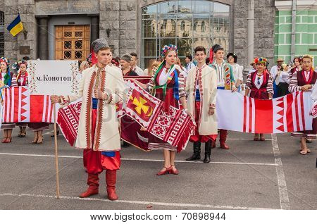 A Delegation From The Of Konotop Region In National Traditional Costume  Regions, Ukraine On August