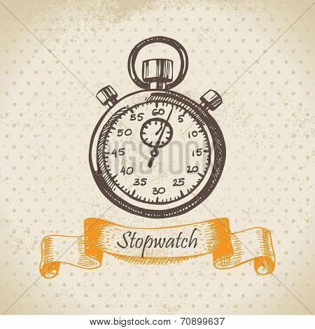 Stopwatch. Hand drawn illustration