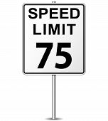 foto of mph  - illustration of seventy five speed limit signpost - JPG