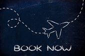 image of time flies  - air route and plane trail booking holidays and the travel industry - JPG
