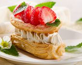 stock photo of cream puff  - Sweet cream puff with strawberries - JPG
