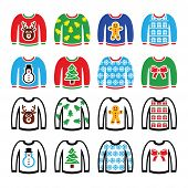 foto of ugly  - Vector icon set of jumper with Xmas decoration isolated on white - JPG