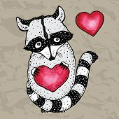 foto of raccoon  - Raccoon carrying a heart - JPG