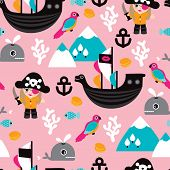 foto of pirate girl  - Seamless little girls pirates and whale illustration fun kids adventure theme background pattern in vector - JPG