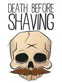 stock photo of shaving  - death before shaving skull with mustache - JPG