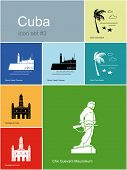 Landmarks of Cuba. Set of color icons in Metro style. Raster illustration. poster