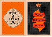 picture of happy halloween  - Vector illustration of colorful cartoon Happy Halloween greeting cards set decorated - JPG