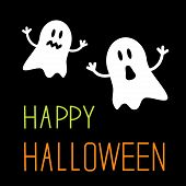pic of funny ghost  - Two funny Halloween ghosts - JPG