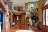 stock photo of windows doors  - Luxury house Grand Stairs - JPG