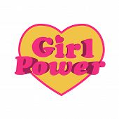 image of women rights  - Girl power typographic heart - JPG
